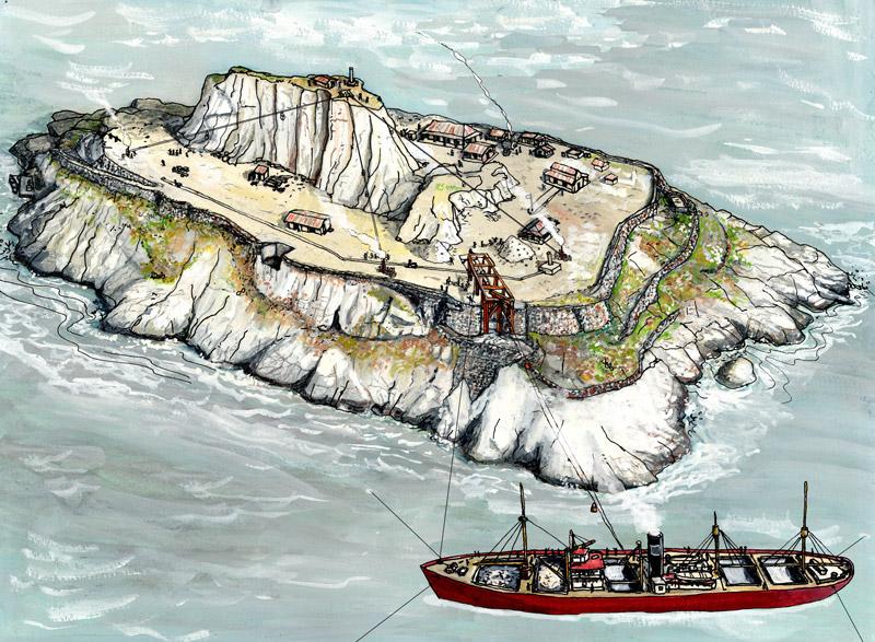 Représentation de l'Ile du Grand-Connétable à la fin du XIXe siècle (Crédit : J-P. Penez)